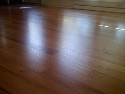 Refinished red oak hardwood floor in Iowa City