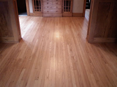 Refinished Red oak Hardwood floor in Iowa City Craftsman